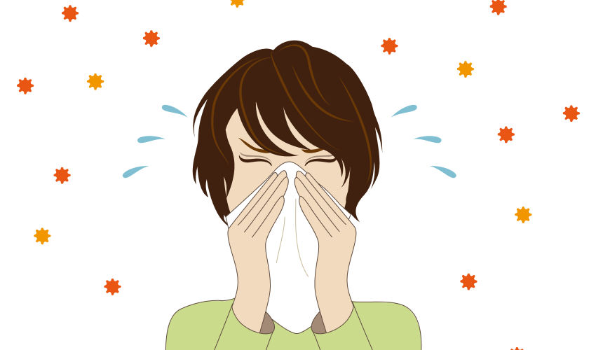 illustration of woman sneezing, allergens in the air